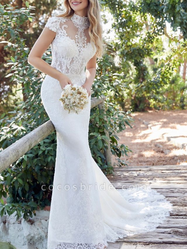 Mermaid \ Trumpet Wedding Dresses High Neck Sweep \ Brush Train Lace Satin Short Sleeve Vintage Sexy Backless