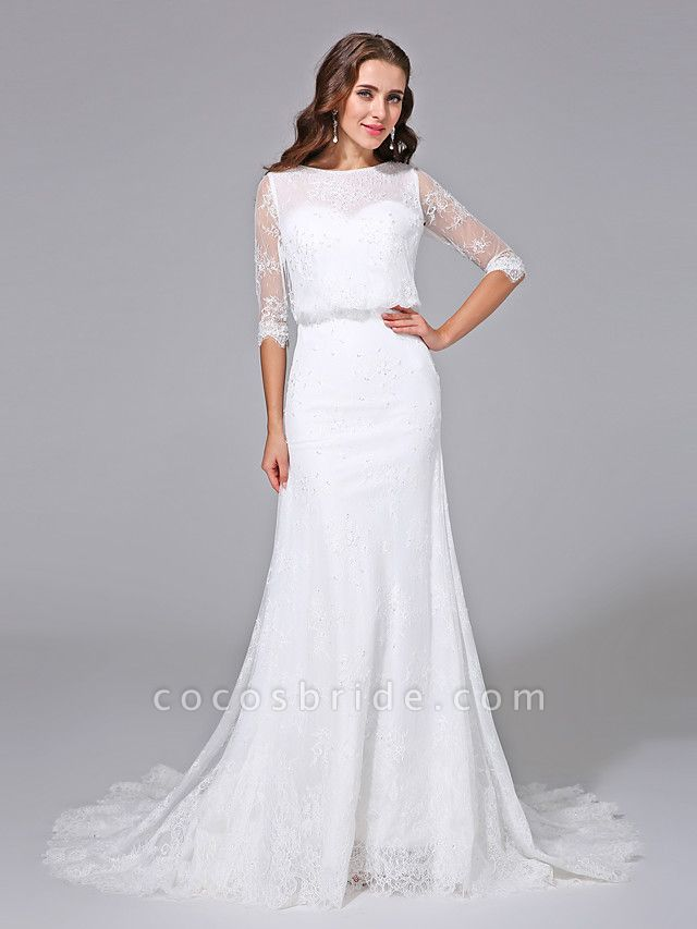 Mermaid \ Trumpet Wedding Dresses Scoop Neck Court Train Satin Lace Over Tulle Half Sleeve Simple Backless Illusion Sleeve