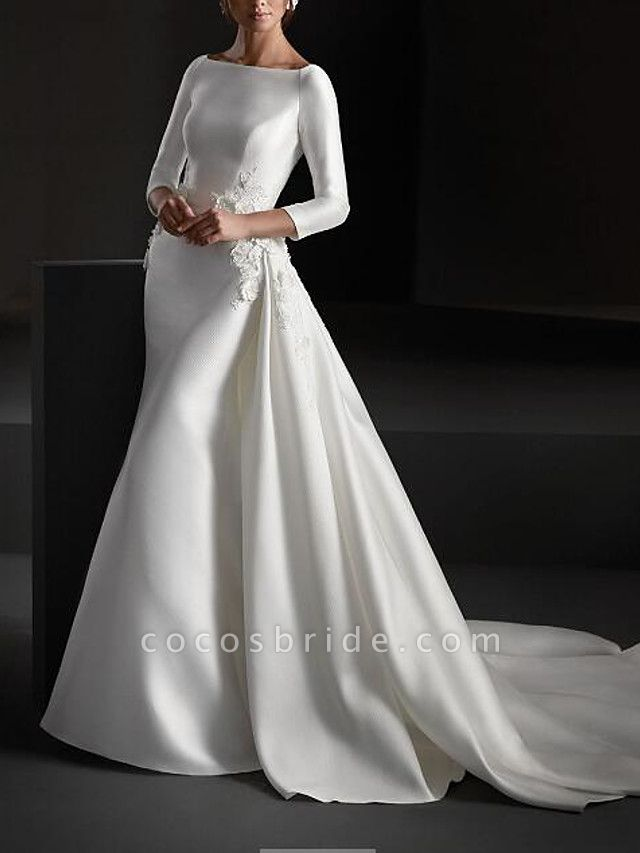 A-Line Wedding Dresses Jewel Neck Sweep \ Brush Train Stretch Satin Long Sleeve Country Plus Size