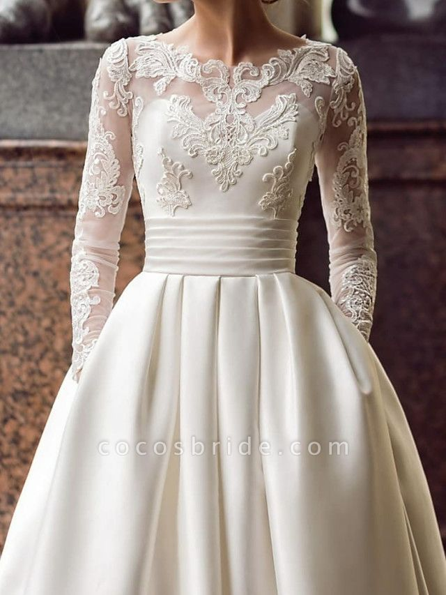 Ball Gown Wedding Dresses Jewel Neck Sweep \ Brush Train Lace Satin Long Sleeve Romantic See-Through