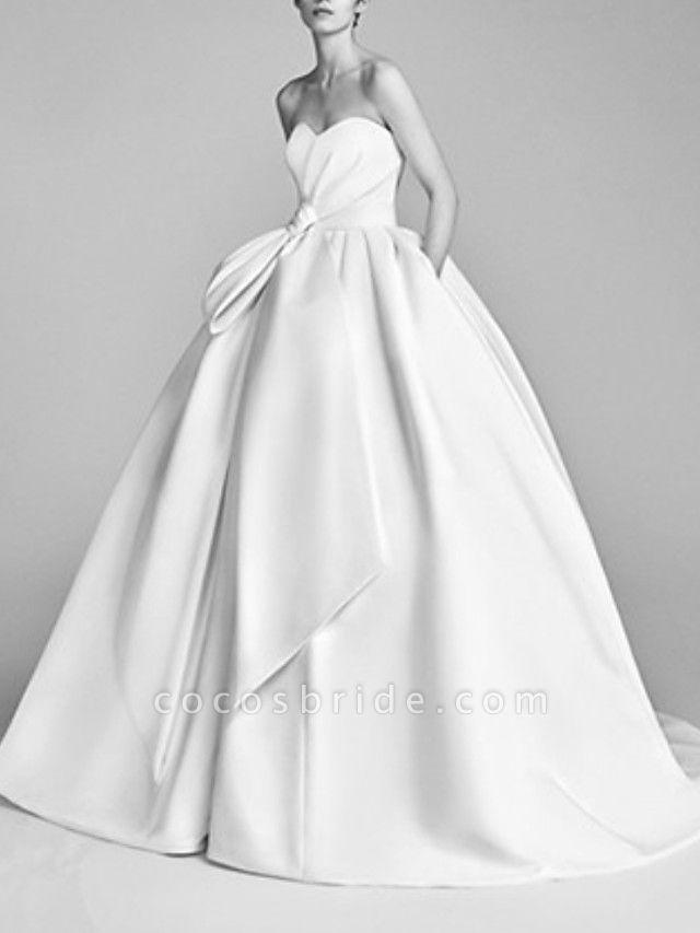 Ball Gown Wedding Dresses Strapless Sweep \ Brush Train Satin Sleeveless Beach
