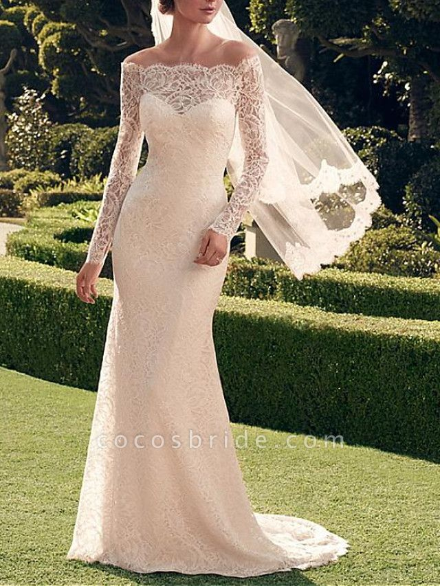 Mermaid \ Trumpet Wedding Dresses Off Shoulder Sweep \ Brush Train Lace Long Sleeve Romantic Sexy See-Through