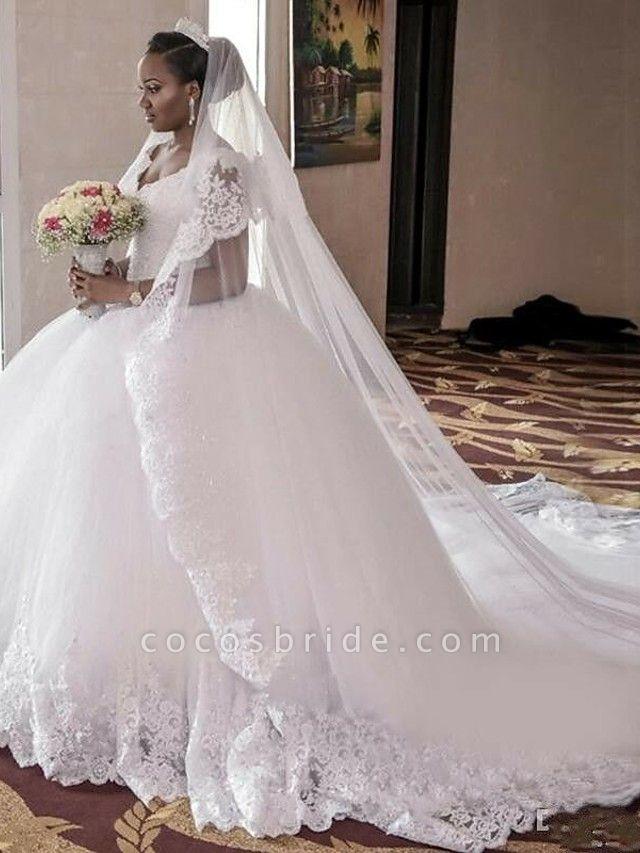 A-Line Wedding Dresses V Neck Watteau Train Organza Sleeveless Sexy Wedding Dress in Color