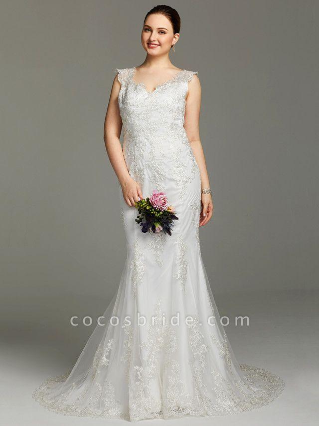 Mermaid \ Trumpet Wedding Dresses V Neck Court Train Lace Sleeveless Open Back See-Through