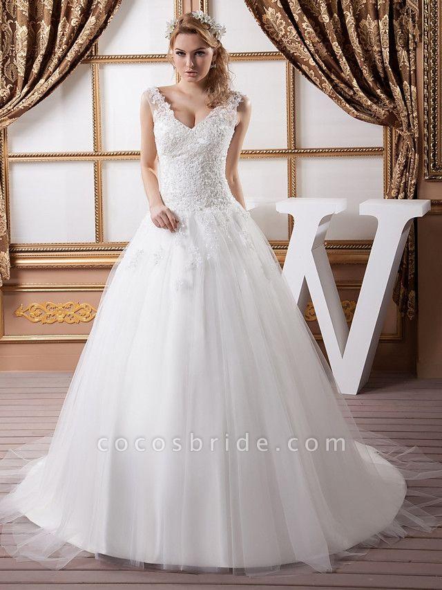 A-Line V Neck Court Train Lace Satin Tulle Spaghetti Strap Wedding Dresses