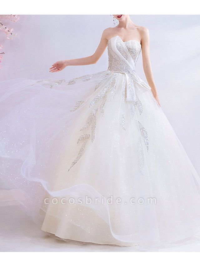 A-Line Wedding Dresses Strapless Sweep \ Brush Train Chiffon Tulle Strapless Formal Illusion Detail Plus Size
