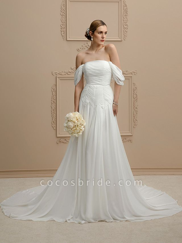 Princess A-Line Wedding Dresses Strapless Cathedral Train Chiffon Sleeveless Open Back