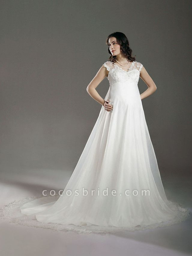 A-Line Wedding Dresses V Neck Court Train Lace Organza Regular Straps See-Through