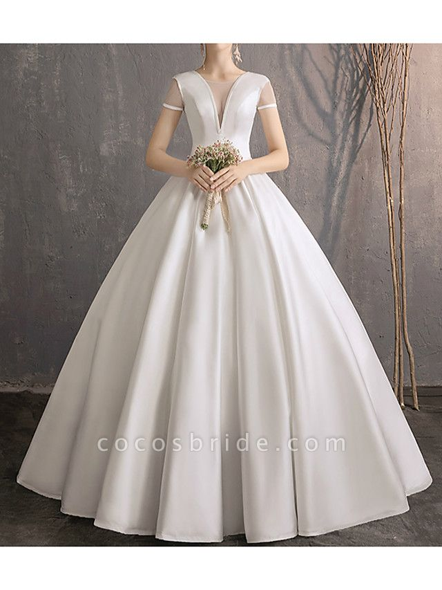 Ball Gown Wedding Dresses Jewel Neck Floor Length Satin Tulle Short Sleeve Simple Plus Size Elegant
