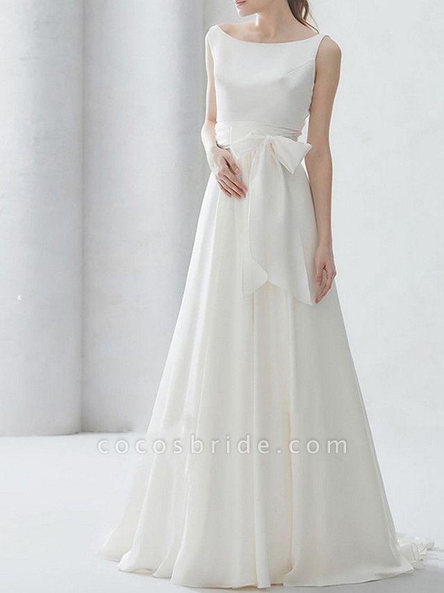 A-Line Wedding Dresses Bateau Neck Sweep \ Brush Train Chiffon Regular Straps Simple Elegant