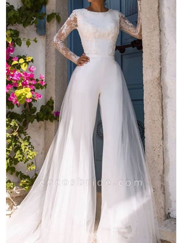 Jumpsuits Wedding Dresses Jewel Neck Court Train Lace Tulle Long Sleeve Modern Illusion Sleeve