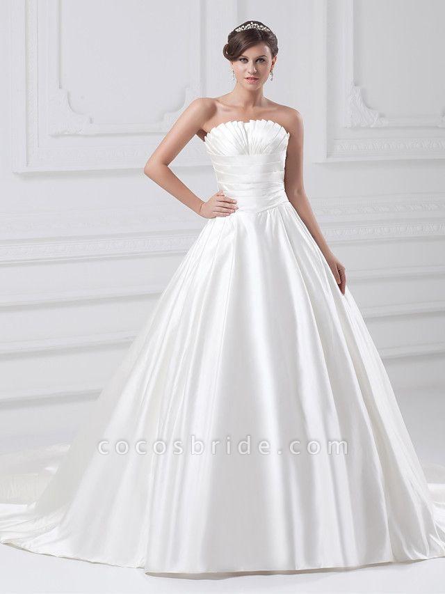 Ball Gown Wedding Dresses Strapless Court Train Satin Strapless Plus Size