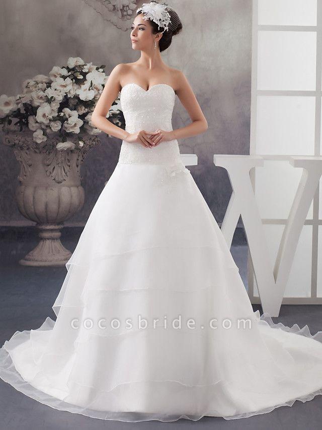 A-Line Sweetheart Neckline Chapel Train Organza Satin Strapless Wedding Dresses