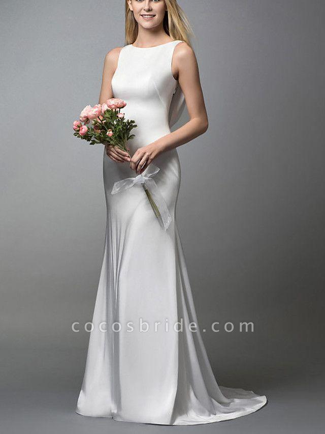 Mermaid \ Trumpet Wedding Dresses Jewel Neck Sweep \ Brush Train Spandex Lace Sleeveless Simple