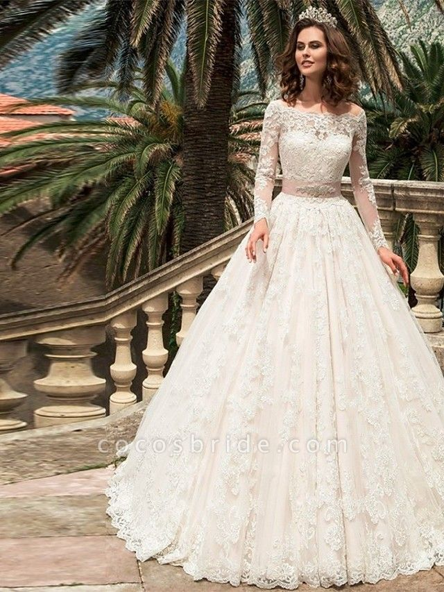 Ball Gown Wedding Dresses Off Shoulder Court Train Lace Long Sleeve Formal