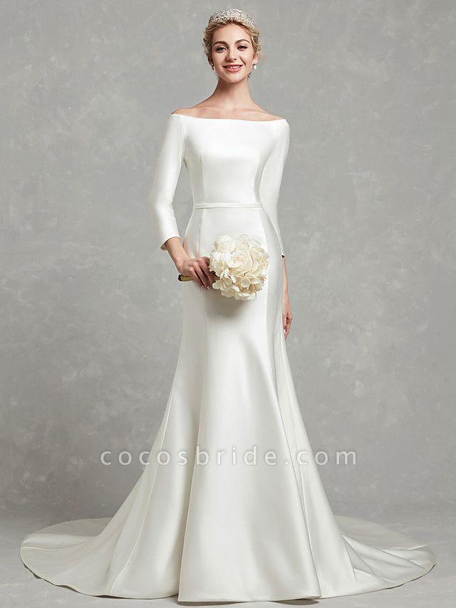 Mermaid \ Trumpet Wedding Dresses Bateau Neck Chapel Train Satin Long Sleeve Formal Little White Dress