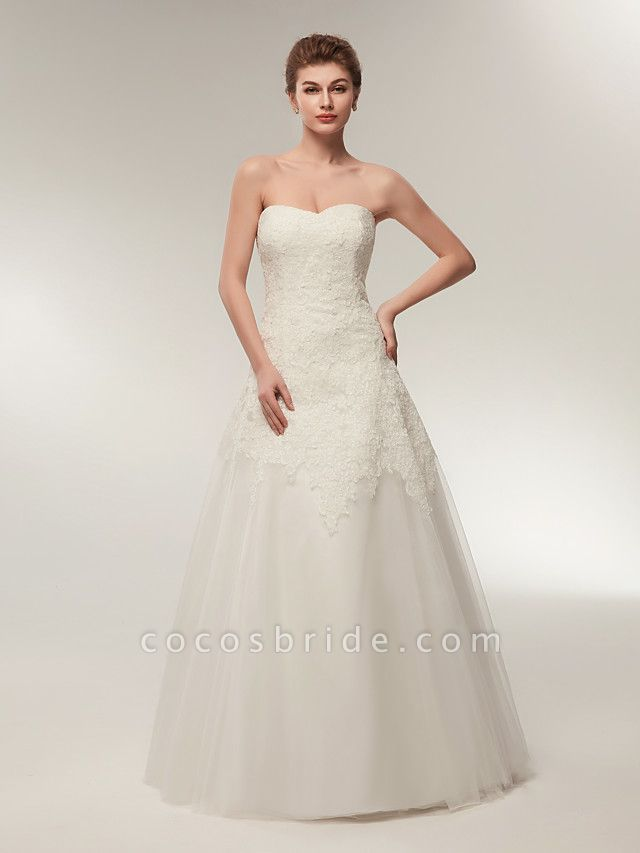 A-Line Wedding Dresses Strapless Floor Length Lace Tulle Strapless Formal Illusion Detail