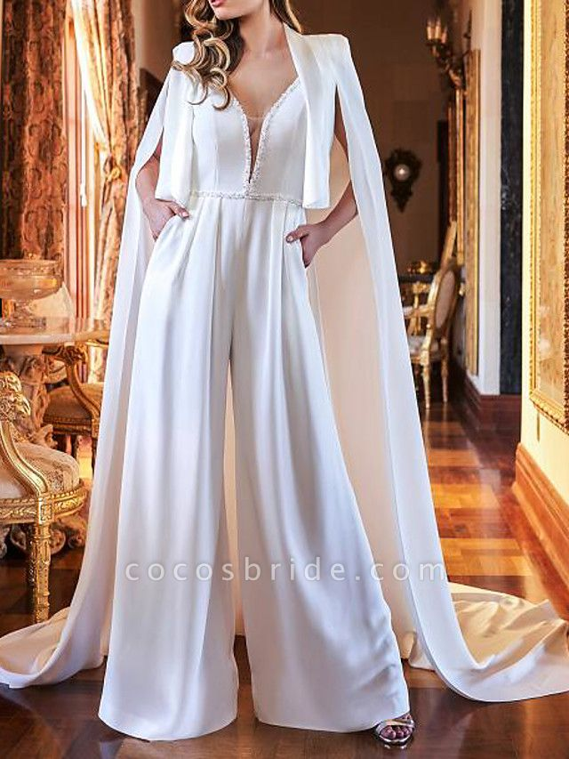 Two Piece Jumpsuits Wedding Dresses V Neck Sweep \ Brush Train Polyester Sleeveless Country Plus Size