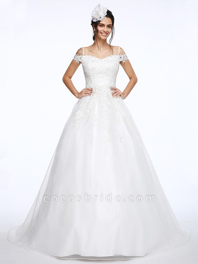 Ball Gown Wedding Dresses Off Shoulder Court Train Organza Beaded Lace Short Sleeve