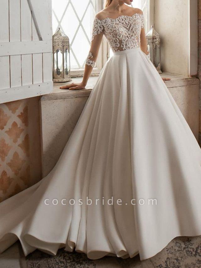 A-Line Wedding Dresses Bateau Neck Sweep \ Brush Train Lace Satin 3\4 Length Sleeve Formal See-Through
