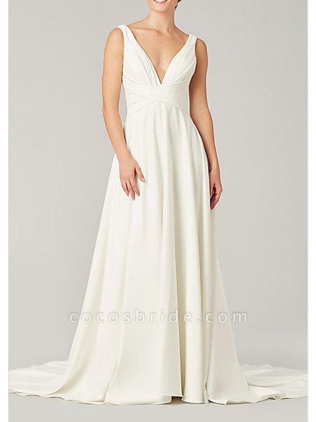 A-Line Wedding Dresses V Neck Sweep \ Brush Train Chiffon Sleeveless Country Plus Size