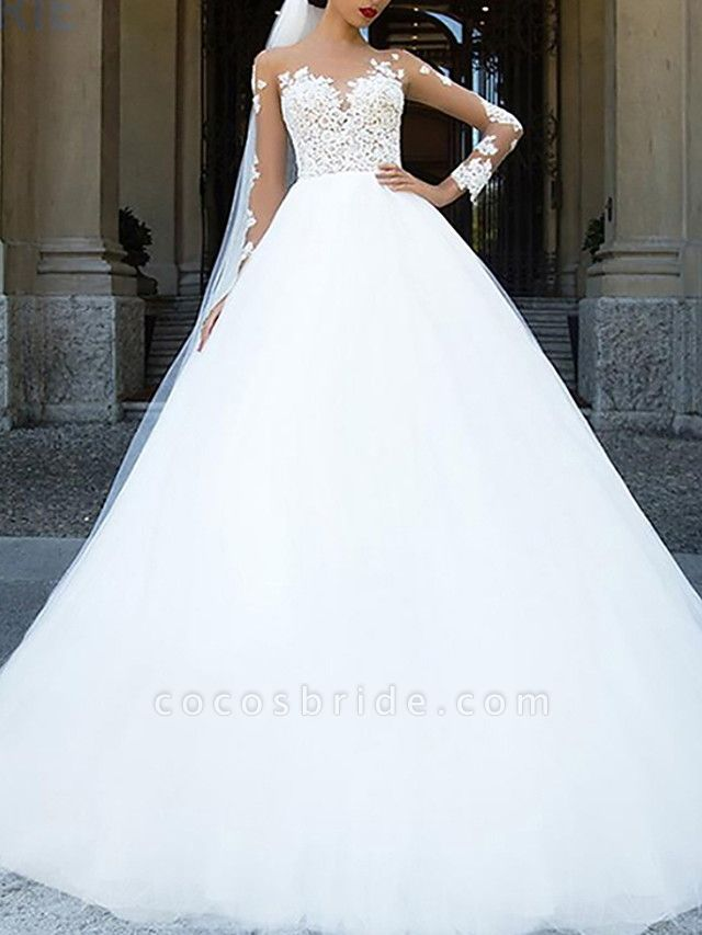 Ball Gown A-Line Wedding Dresses Jewel Neck Sweep \ Brush Train Lace Tulle Long Sleeve Formal Sexy See-Through Backless