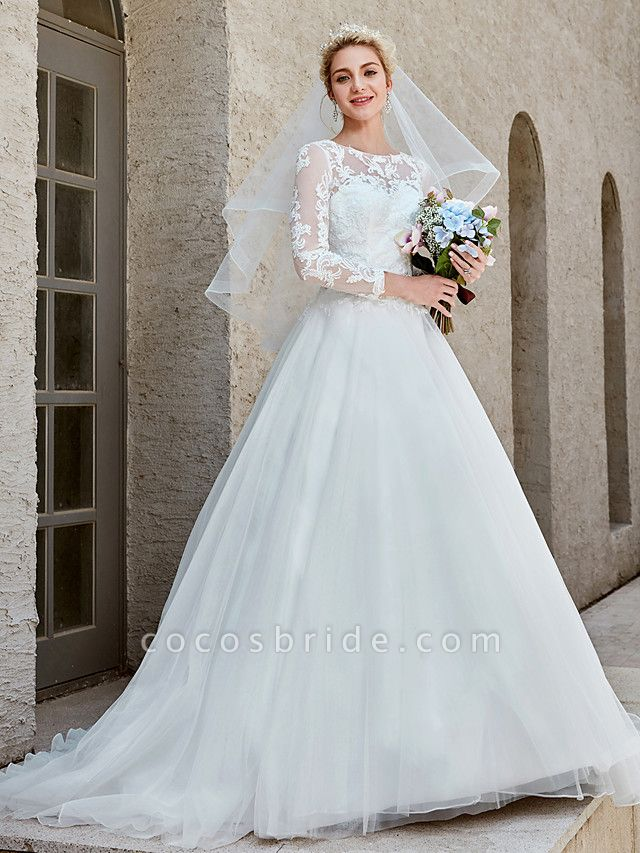 Ball Gown Wedding Dresses Bateau Neck Chapel Train Lace Tulle Long Sleeve Beautiful Back Illusion Sleeve
