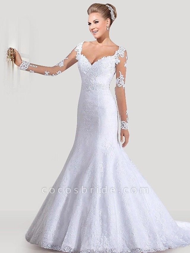 Mermaid \ Trumpet Wedding Dresses Sweetheart Neckline Court Train Lace Tulle Lace Over Satin Long Sleeve Sexy Backless Illusion Sleeve