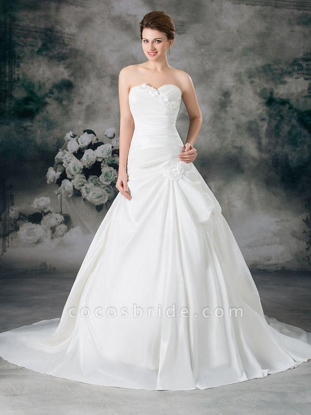 A-Line Sweetheart Neckline Court Train Satin Taffeta Strapless Wedding Dresses