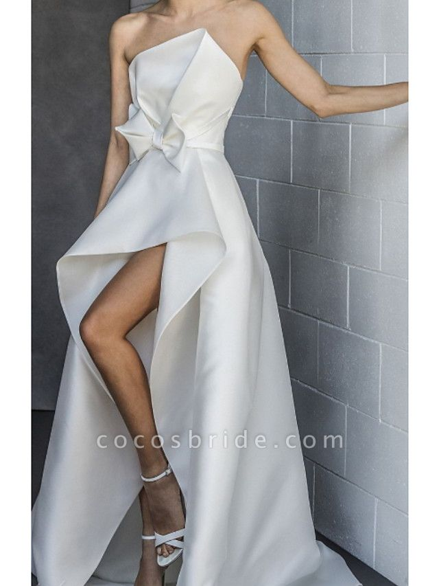 Lt7918012 Boho Lace Strapless Split Wedding Dress