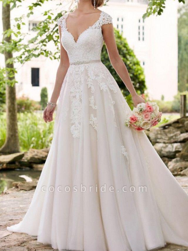 A-Line Wedding Dresses V Neck Sweep \ Brush Train Lace Tulle Regular Straps Formal Mordern Illusion Detail