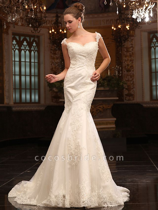 Mermaid \ Trumpet Wedding Dresses Straps Sweetheart Neckline Court Train Lace Satin Short Sleeve