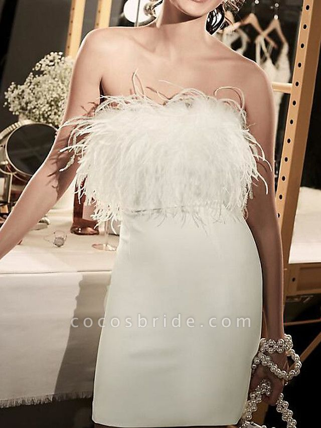 Sheath \ Column Wedding Dresses Strapless Short \ Mini Satin Feather Sleeveless Country Plus Size