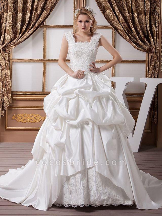 A-Line Square Neck Court Train Lace Satin Regular Straps Wedding Dresses