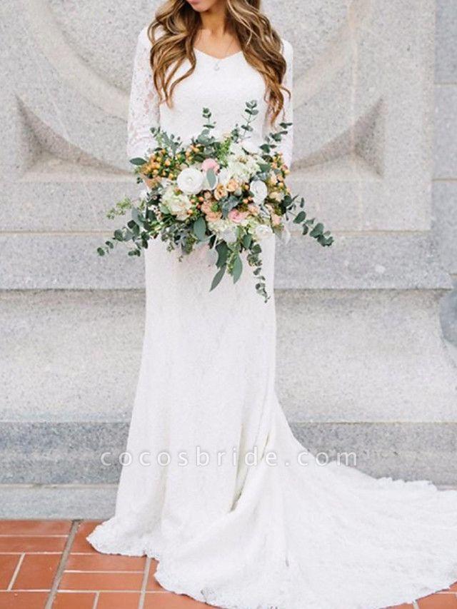 Sheath \ Column Wedding Dresses V Neck Sweep \ Brush Train Chiffon Lace 3\4 Length Sleeve Romantic Simple Elegant