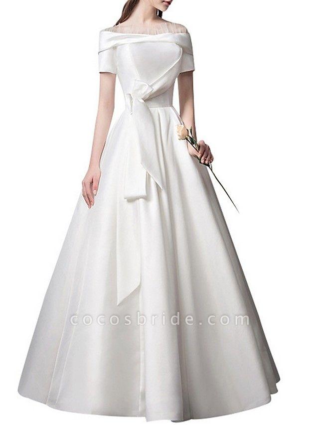 A-Line Wedding Dresses Off Shoulder Floor Length Satin Short Sleeve Beach