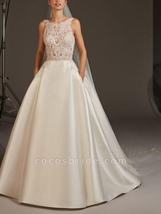 A-Line Wedding Dresses Jewel Neck Sweep \ Brush Train Lace Satin Regular Straps Plus Size Modern