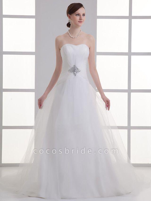 A-Line Wedding Dresses Sweetheart Neckline Chapel Train Lace Satin Strapless