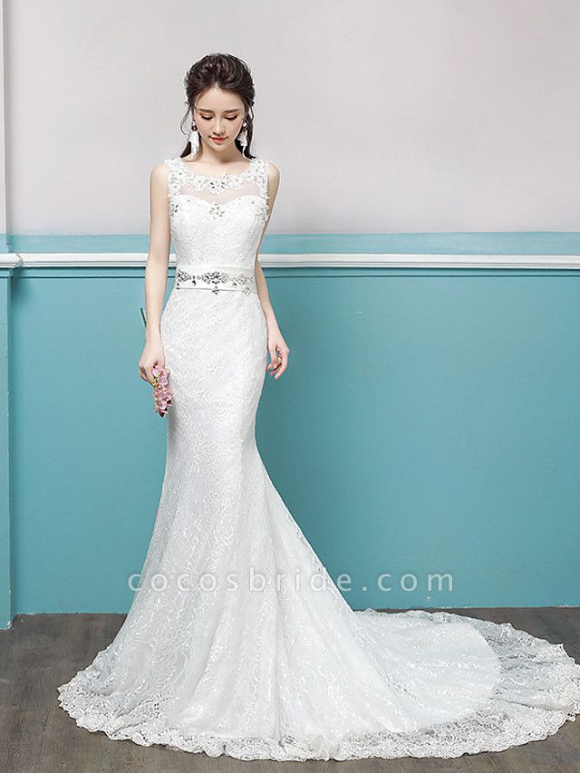 Mermaid \ Trumpet Wedding Dresses Scoop Neck Sweep \ Brush Train Lace Tulle Polyester Sleeveless Romantic Glamorous Sexy