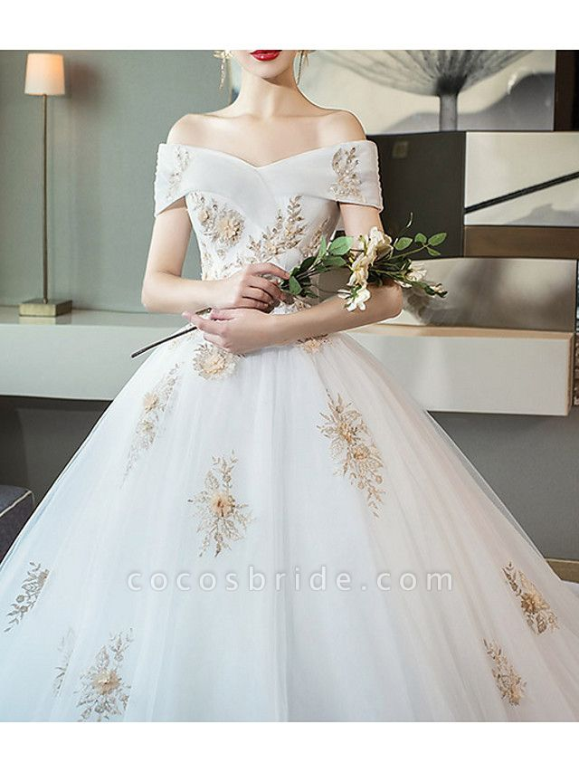 A-Line Wedding Dresses Off Shoulder Cathedral Train Lace Short Sleeve