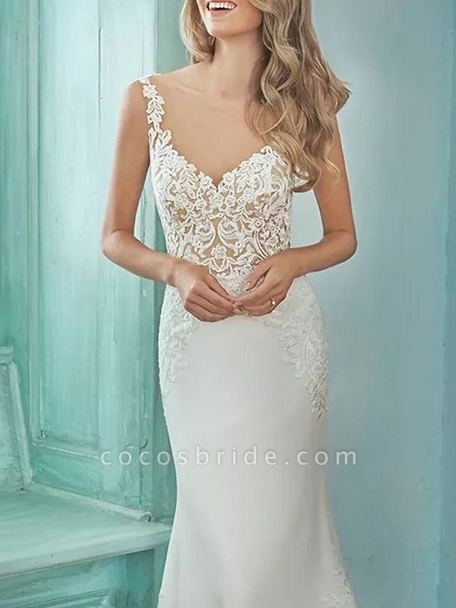 Mermaid \ Trumpet V Neck Sweep \ Brush Train Lace Polyester Sleeveless Casual Plus Size Wedding Dresses