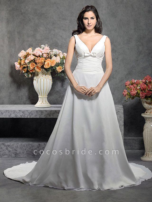 Princess A-Line Wedding Dresses Straps V Neck Court Train Chiffon Sleeveless