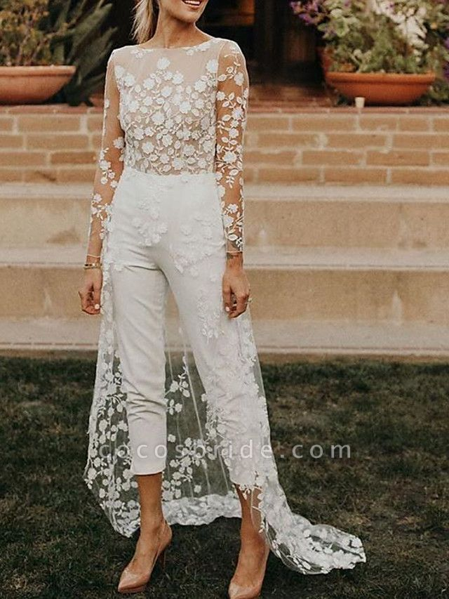 Jumpsuits A-Line Wedding Dresses Jewel Neck Sweep \ Brush Train Lace Satin Long Sleeve Sexy See-Through Modern
