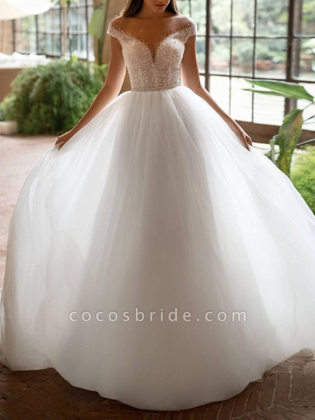 A-Line Wedding Dresses Off Shoulder Court Train Tulle Short Sleeve Plus Size