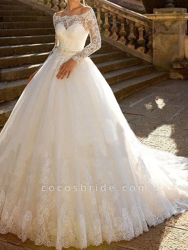 Ball Gown Wedding Dresses Off Shoulder Chapel Train Lace Tulle Lace Over Satin Long Sleeve Glamorous Sparkle & Shine Illusion Sleeve