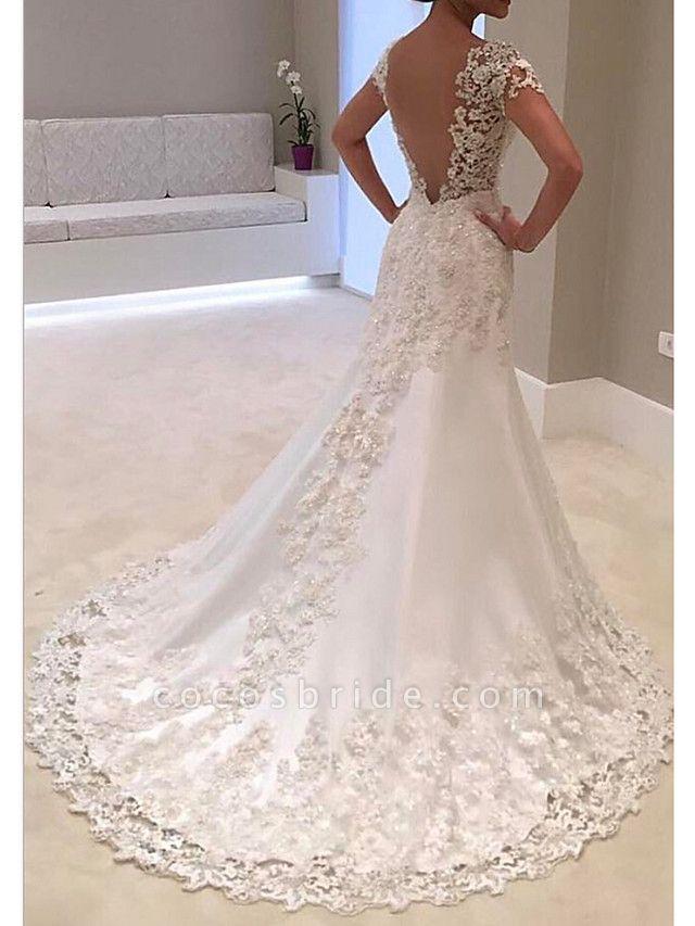 A-Line Wedding Dresses V Neck Sweep \ Brush Train Tulle Regular Straps