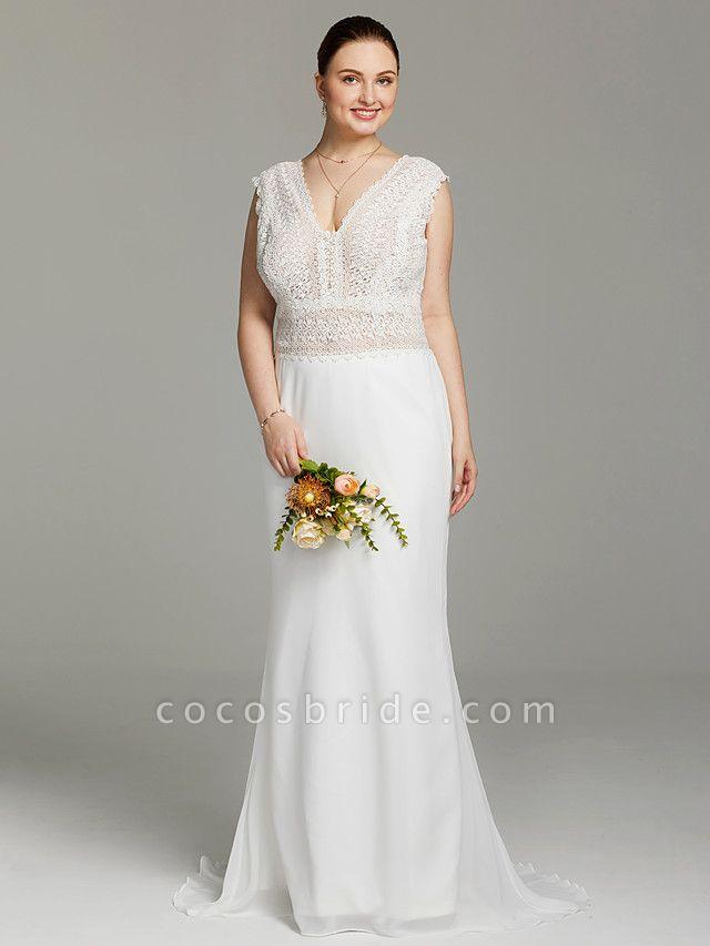 Mermaid \ Trumpet Wedding Dresses V Neck Sweep \ Brush Train Chiffon Lace Sleeveless Open Back See-Through
