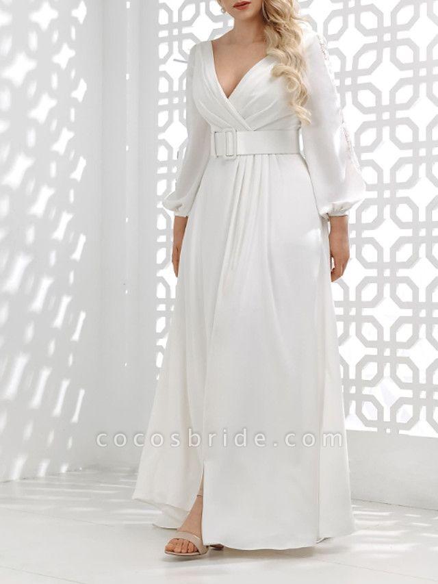 A-Line Wedding Dresses V Neck Floor Length Stretch Satin Long Sleeve Country Plus Size
