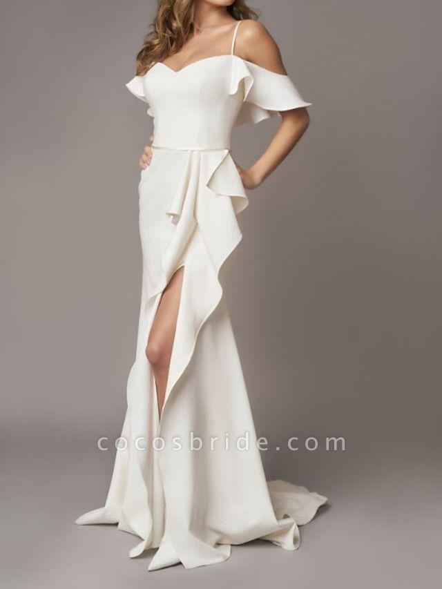 A-Line Wedding Dresses Off Shoulder Sweep \ Brush Train Chiffon Over Satin Short Sleeve Simple