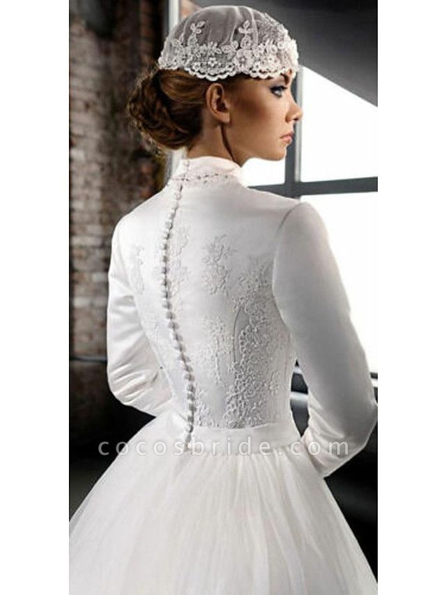 A-Line High Neck Court Train Lace Tulle Long Sleeve Country Wedding Dresses